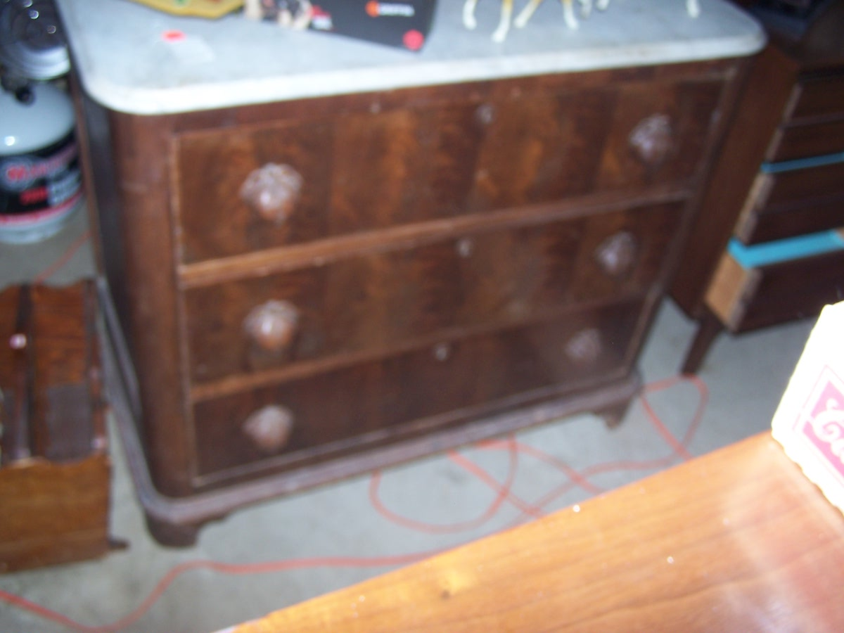 Antique Marble Top Three Drawer Dresser With Wood Handles